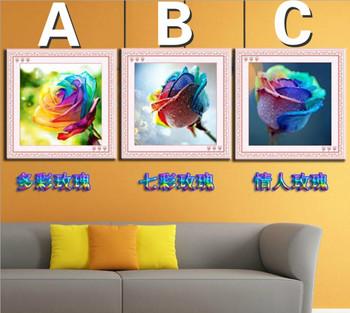 Новое поступление diy 5d круглый бриллиант вышивка живопись разноцветные розы живопись 30 см * 30 см цветочные вышивки крестом