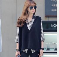 women Casual sleeveless loose plus size large V-neck knit sweater vest female vest