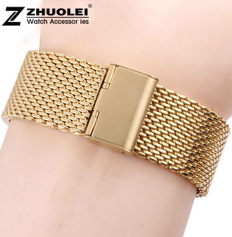 18 mm 20 mm 22 mm 24 mm nova alta qualidade de ouro aço inoxidável assista malha pulseiras substituição cintas banda fivela de segurança(China (Mainland))