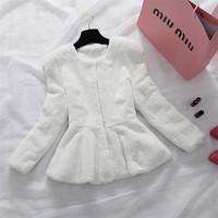 Factory 2014 New Design Women's Real Full Pelt Rex Rabbit Fur Coat /Fur Clothing /Fur Garment High Quality