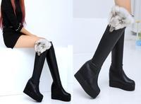 Women's Boots 2014 Autumn winter New fashion real fox hear fur ladies sexy Knee high boots platform wedge high heels long boots