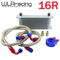 WLR STORE-AN10 OIL COOLER KIT 16RWOS TRANSMISSION OIL COOLER SILVER+OIL FILTER  ADAPTER BLUE + STAINLESS STEEL BRAIDED HOSE