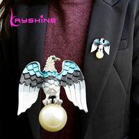 Fashion Jewelry Enamel Yellow Blue Eagle Shape Lovely Girl Brooch 2014 New Fashion Accessories