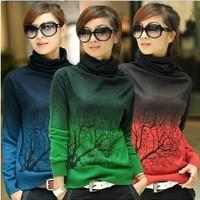 New Autumn - Winter women cashmere sweater turtleneck branch print Gradient Color design pullover sweater large size S-XXXL