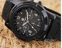 Men Cheap  Watch Solider Military Army Canvas Fabric Belt Luminous Quartz Wrist Watch Good Quality 154