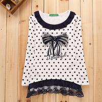 Child long-sleeve T-shirt polka dot 2014 autumn girls clothing lace female big boy o-neck basic shirt