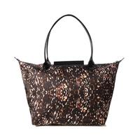 AC484 Modern Fashion leopard  Nylon  Hobos bamboo women lady girl bag shopper tote bag handbag