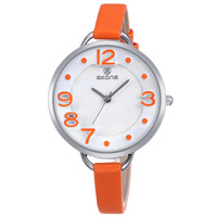 2015 New SKONE Watch Luxury Brand Leather Strap Watch Women Quartz Analog Watch Waterproof Wristwatch