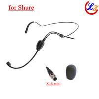 Wholesale 5 pics Headset Condenser Microphone Black Headworn Microfone for Shure Wireless Transmitter XLR Mini 4Pin Mic