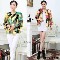 2014 New Fashion Jacket Women Wool Fox Fur Outerwear Cape Colorful Overcoat  SV010025 3F