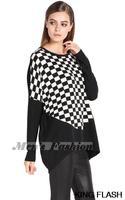 2014 New Fashion Grid Print Long T-shirt Women's Blouse Long Sleeve Tops Splicing color Long Sleeve shirt SV010120 3F