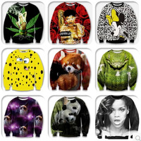 Alisister new Fashion men/women's weed/rihanna/bear/pusheen cat sweatshirt 3d printed character sweater hoodies long sweat shirt