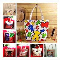 Canvas shoulder bag 1pc women Cartoon Single Shoulder student Handbags Medium Canvas shopping Bag BA240-249