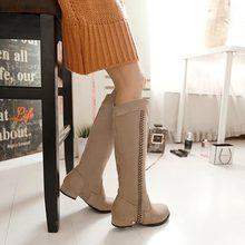 2014 spring autumn Suede Flat Bottom Low Heel Knee high Thigh Women Boots For women warm shoes woman high leg boo