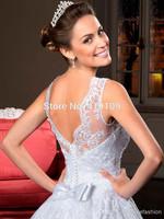 Vestido de noiva Sexy Sleeveless White A Line Wedding Dresses Applique Crystals Bow Floor Legth Backless Bridal Gown