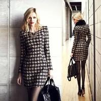 2014 European&American Style women autumn winter dress slim long-sleeve vestidos houndstooth plaid casual OL office dress LYQ16