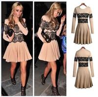 Ebay fashion lace decoration o-neck long-sleeve dress 5