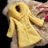 2014 New Korea Style Women's Long  Real Rabbit Fur Coat  /Fur Garment  Retail And Wholesale