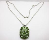 Silver Tone Green Pendant Necklace ls