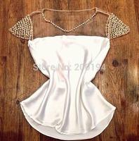 Top Sale Women Fashion Mesh Pachwork Chiffon Shirt Short Sleeve Plus Size Women Shirt Casual Shirt Blouse Free Shipping