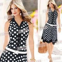 Fashion turn-down collar sleeveless polka dot expansion bottom fashion one-piece dress - 8326