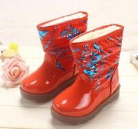 children boys girls winter snow boots fashion princess leatehr martin tall riding boots solid floral print velvet plus fur warm
