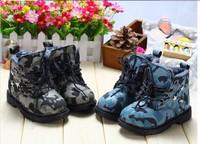 children girls boys fashion boots princess leather sports shoes martion boots Camouflage velvet plus fur warms winter shoes