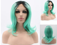 Natural Straight Synthetic Lace Front Wig Glueless Ombre Black/Light Green Two Tone Heat Resistant Hair Wigs/Free Shipping New