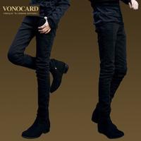 Mens pencil cotton cargo pants black skinny trousers casual fashion 2014 denim Free shipping