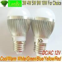 3W 4W 5W 9W 10W high poower E27 base 12V AC/DC LED lamp Globe Bulb silver spot light down lights 6 colors LB4