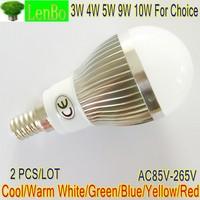 2PCS/LOT High Power LED lamp 3W 4W 5W 9W 10W E14 Globe lamp 220V 110V Cool Warm White silver body LB4