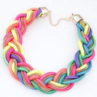 Fashion Punk Neon Cord Chain Maxi Colares Choker Necklaces Handmade Statement Femininos Women Jewelry Bijuterias Accessories