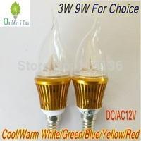 4PCS/LOT 3W 9W DC/AC 12V E14 base High Power Candle Light Flame Shape Cap LED Lamp 6color for choice Gold Case LC10