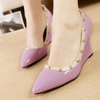 Rivet pointed toe high-heeled lady  shoes princess pumps shallow mouth platform wedges single shoes sweet female shoes