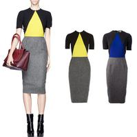 Ebay fashion ol color block women's slim hip slim fashion short-sleeve patchwork one-piece dress