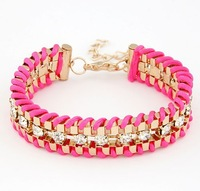 Free Shipping 7 Color Hand - Woven Gold Ethnic Bracelet For Women New Fashion Clear Crystal Bracelet Bangle Jewelry cxt81820