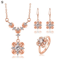 High Quality New Arrival 18k rose gold jewelry sets for women Shiny CZ Crystal Necklace + Ring + Earrings jewelry sets KT002