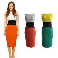 2014 New Fashion Europe America Style Women's Fashion OL Slim Patchwork O-Neck Sleeveless Pencil Dress Contrast Color Dress