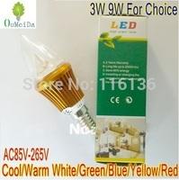 3W 9W High Power Candle Light E14 base AC85V---265V lED bulb LED Lamp 6colors for choice Gold Case LC9