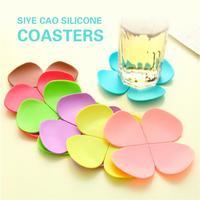 stereoscopic impression Flower shape hot silica gel cup mat Clovers antiskid tea table mats heat insulation coffee mat