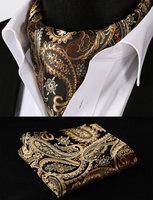 Gold Orange Paisley Floral Silk Cravat Woven Ascot Tie Pocket Square Handkerchief Set