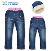 BP107 Free shipping  2014 new K K RABBIT child's pants warm for winter girls jeans thick baby's trousers retail and wholesale