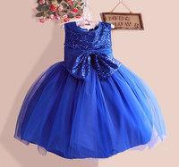 2014 Top Autumn Winter Kids Toddler Girls Princess Dress Sleeveless glitter Dress With Bow   3-8 year