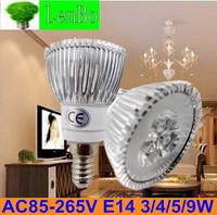 Free Express shipping Dimmable High Power spot light 100pcs/lot 220V E14 3W 4W 5W 9W LED spotlight tubes bulb lamps LS73