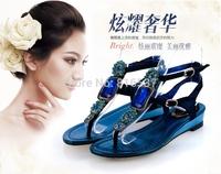 Free shipping Summer rene caovilla gem rc rhinestone flat flip-flop female low-heeled sandals