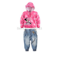 1-StFree shipping,Kids autumn fashion clothes for girls Cartoon long-sleeved sweater +jeans suit grils student clothes 6sets/lot