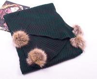 Dark Green Women's Scarf mohair MAGLIERIA Long shawl Wraps With Rabbit Fur Ball 200x38cm