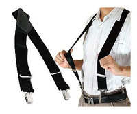 Mens Black Durable Clip-on Trouser Braces Suspender Elastic Adjustable 50MM Wide FREE Shipping