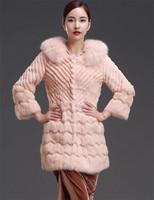 Factory 2014 New Design Women's Genuine Long Pull Pelt Rabbit Fur Clothing/Fur Coat Wholesale and Retail