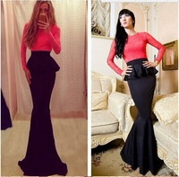2014 Autumn Winter Fashion Women Red Patchwork Lace Long Sleeve O-Neck Peplum Evening Maxi Party Dresses